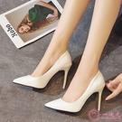高跟鞋 新款藍色性感尖頭鞋夜店裸色大碼細跟高跟鞋紅色婚鞋黑色工作單鞋