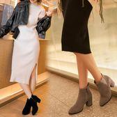 粗跟靴 秋冬新款女靴子韓版粗跟小短靴磨砂真皮高跟百搭圓頭馬丁靴 唯伊時尚