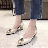 高跟鞋女2020春季新款韓版百搭水鑚溫柔風時裝鞋淺口粗跟尖頭單鞋 俏girl