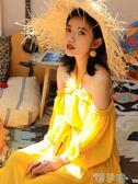 雪紡洋裝一字肩馬爾代夫沙灘裙女超仙顯瘦海邊度假大碼  【熱賣新品】