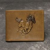 真皮皮夾(短夾)-歐美復古馬圖浮雕男錢包2款73qs24[時尚巴黎]