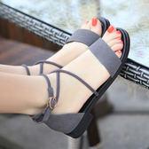 真皮低跟涼鞋 女交叉綁帶大碼羅馬鞋【多多鞋包店】z2024