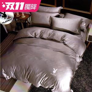 【貝兒寢飾】PLAYBOY 裸睡系列60支素色萊賽爾天絲兩用被床包組(雙人/安德魯)
