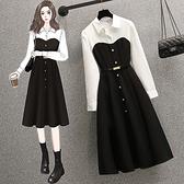 大碼長袖洋裝 禮服 連身裙L-4XL18475大碼胖mm時尚拼結收腰顯瘦連身裙小黑裙4F093 胖妞衣櫥