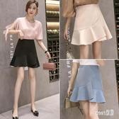 荷葉邊魚尾半身裙女2020夏季新款純色高腰包臀短裙時尚修身A字裙 HX5242【Sweet家居】