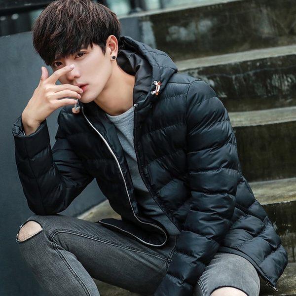 [現貨]冬季韓版修身連帽防水拉鍊防風保暖鋪棉外套 黑色 深藍 淺灰 小中大尺碼【QZZZ03007】
