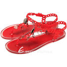 MONCLER  金屬綴飾PVC夾腳涼鞋(紅色) 1420294-54