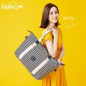 Kipling 黑白撞色格子手提側背包-中-ART M