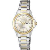 【台南 時代鐘錶 CITIZEN】星辰 都會簡約氣質時尚腕錶 EQ0595-55A 金/銀 27mm