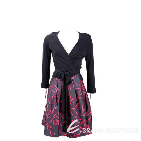 Diane von Furstenberg 黑色V領紅葉印花綁帶連身洋裝 1860008-01