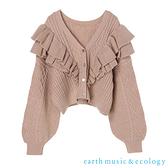 「Autumn」【WEB限定】立體荷葉摺邊短版針織罩衫 - earth music&ecology