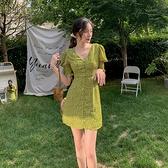 雪紡洋裝 韓系綠色V領碎花連身裙 花漾小姐【預購】