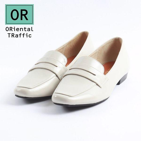 【ORiental TRaffic】復古經典方頭樂福鞋-簡約白