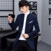西裝男 男士外套秋冬季2019新款韓版潮流上衣服夾克男裝呢子中長款風衣男【免運】