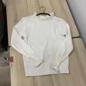 韓版顯瘦修身基本款荷葉邊針織上衣(胸圍37衣長54/777-6051)