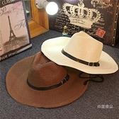 禮帽 防曬夏天男士草帽可折疊牛仔帽戶外遮陽禮帽沙灘帽大檐出游帽男【快速出貨】