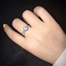 S925鍍白金莫桑石1克拉仿真D色鑽石戒指-秀麗