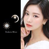 925純銀針  韓國優雅氣質  不對稱太陽月亮 耳環-維多利亞181287