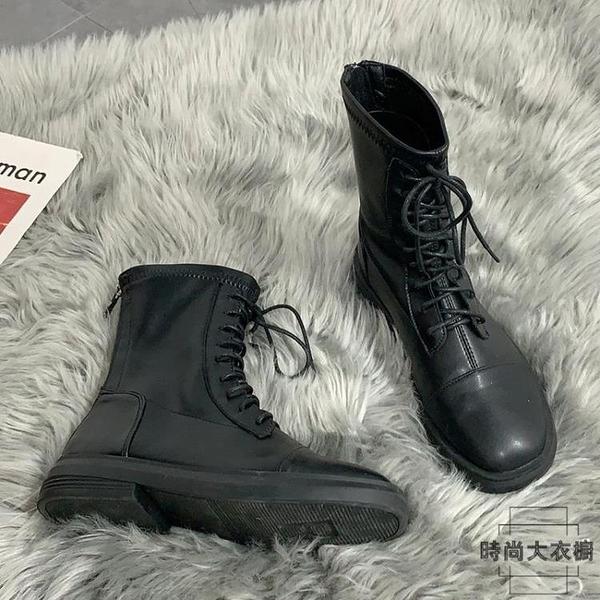 馬丁靴女春秋潮韓版瘦瘦粗跟英倫風中筒單靴子【時尚大衣櫥】