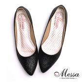低跟鞋-Messa米莎 MIT耀眼金蔥亮片內真皮尖頭低跟包鞋-黑色