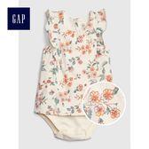 Gap女嬰兒 柔軟妙趣印花圓領荷葉邊包屁衣 472673-代托納