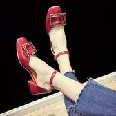 中跟涼鞋涼鞋女夏新款韓版百搭低跟粗跟方頭羅馬鞋一字扣帶瑪麗珍單鞋 喵小姐