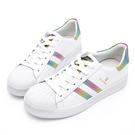 PLAYBOY 經典升級 亮蔥條紋仿皮休閒鞋-白彩(Y6318)