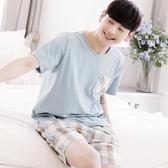 男士睡衣純棉短袖短褲薄款格子韓版套裝 青年休閒家居服 黛尼時尚精品