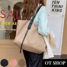 OT SHOP[現貨]側肩背 簡約大容量尼龍托特包 子母包 兩用包 純色質感防潑水牛津布 黑/卡其/粉 H2080