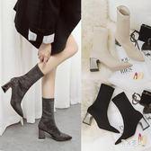 大尺碼中筒靴子冬保暖短靴馬丁靴新款彈力襪靴粗跟高跟鞋 DN20174『男神港灣』
