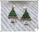 羅蘭達銀飾】耳環。925純銀。繽紛聖誕樹...