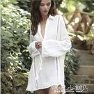 罩衫 沙灘長袖鉤花罩衫比基尼外罩衫鏤空海邊渡假沙灘裙顯瘦外套 傾城小鋪