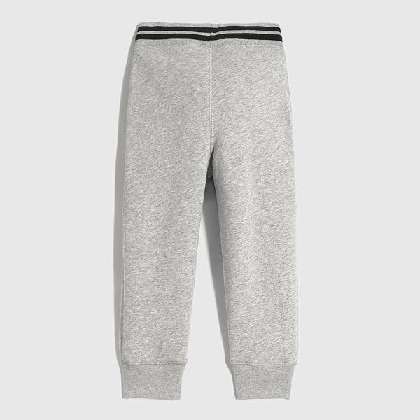 Gap男幼童 Logo碳素軟磨鬆緊休閒長褲 600503-灰色