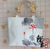 手繪中國風民族風帆布挎包水墨荷花手提包潮流個性手工女包【好康推薦】