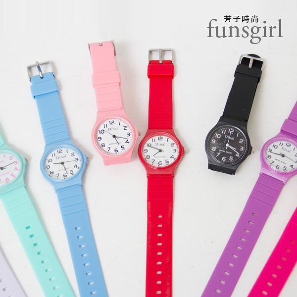 數字馬卡龍果凍矽膠手錶-9色~funsgirl芳子時尚