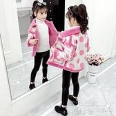 女童外套新款韓版冬裝洋氣兒童皮毛一體小女孩短款夾克春秋潮 【全館免運】