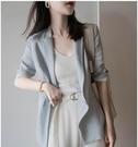 棉麻西裝 夏新品韓國西服上衣女薄款藍棉麻料休閒顯瘦七分袖小西裝-Ballet朵朵