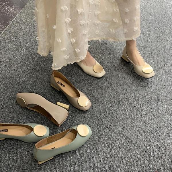 豆豆鞋 復古奶奶鞋粗跟單鞋女低跟豆豆鞋2019春款OL方頭圓頭韓版淺口瓢鞋 玫瑰
