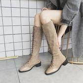 復古馬丁靴女2018秋冬季新款韓版百搭長筒靴方頭粗跟高筒靴機車靴