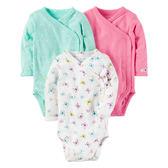 美國Carter's卡特童裝 女寶寶 長袖側扣包屁衣 三件套裝 側扣【CA126G790】