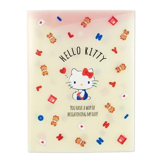 小禮堂 Hello Kitty A4資料本資料夾 透明文件袋 檔案夾 文件夾 (米紅 小熊) 4550337-73729
