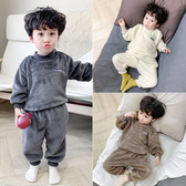 兒童睡衣秋冬小孩加厚套頭保暖寶寶套裝2019新款男童法蘭絨家居服