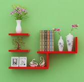 牆壁架子隔板牆上置物架 簡約客廳 書架電視背景壁挂裝飾5 首圖款