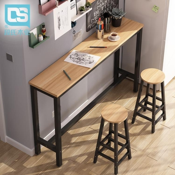 吧台桌 靠牆吧台桌高腳桌家用簡約現代小吧台陽台餐桌長條高桌子奶茶店桌【快速出貨】