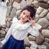 秒殺價女童襯衫女童白色襯衫春裝兒童花邊圓領娃娃衫喇叭袖洋氣女孩襯衣 童趣屋