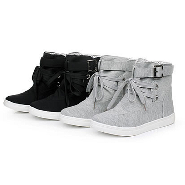 【Sp house】青春校園學生百搭綁帶短靴休閒鞋(黑色灰色2色可選)