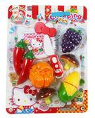 【卡漫城】 Hello Kitty 辦家家酒 蔬果玩具組 ㊣版 模型 魔鬼氈 可切開玩具 凱蒂貓 三麗鷗 蔬菜 水果
