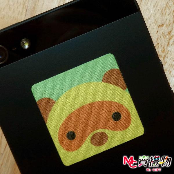 Mc賣禮物-MIT手機螢幕擦拭貼經典尺寸(1片)-Q版動物3 狸貓【W11065】