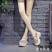 夏季松糕拖鞋女2020新款外穿時尚半拖厚底內增高涼拖鞋ins潮 KP2298急速出貨『美鞋公社』