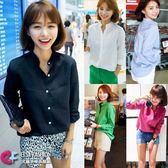 韓國韓劇最愛穿搭長袖襯衫 簡約百搭OL款純色立領棉麻襯衫S~XXL 艾爾莎【TAK2432】